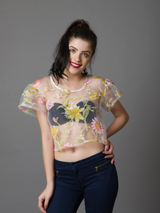 Sheer Floral Top - WhySoBlue