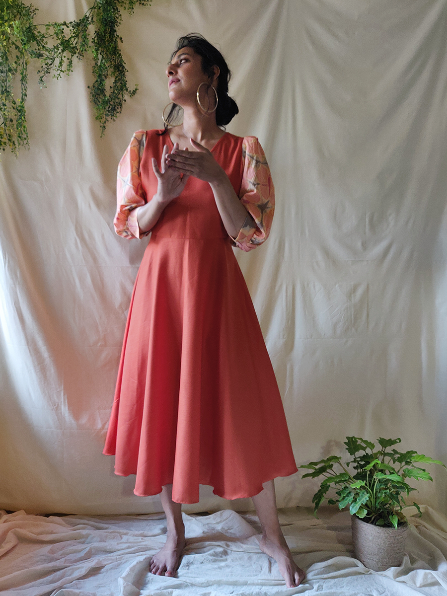 Tangerine Flared dress - WhySoBlue