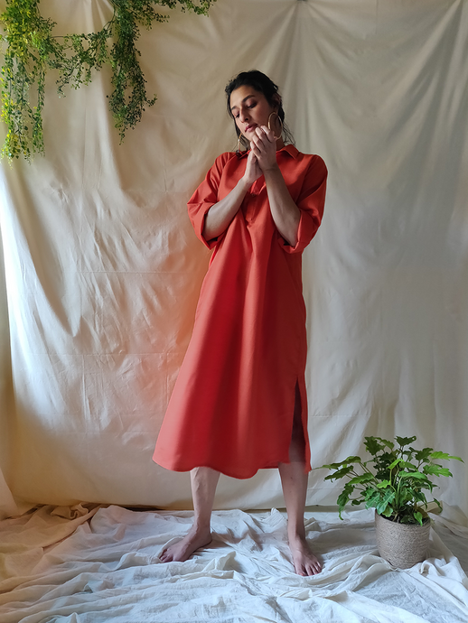 Tangerine Shirt dress - WhySoBlue