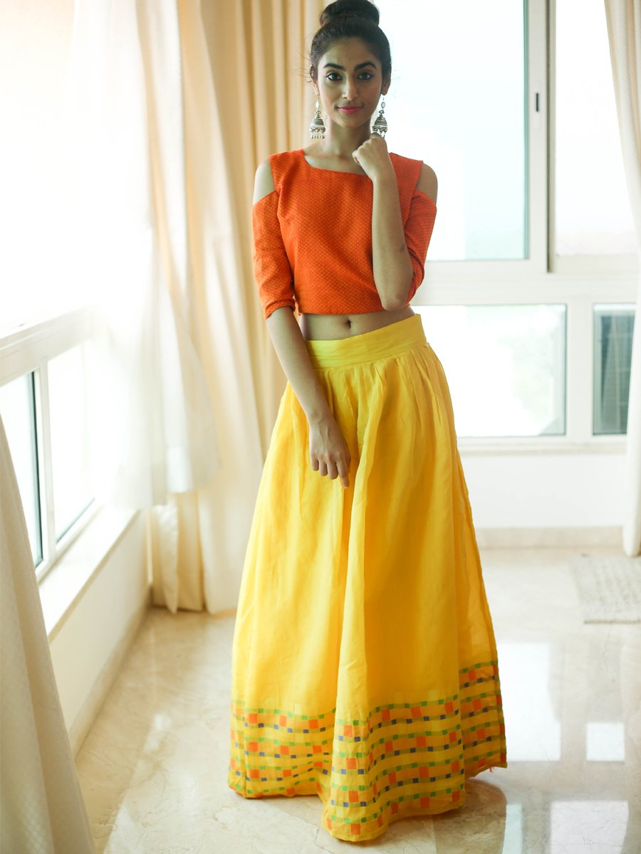 Yellow and Orange Lehenga sET
