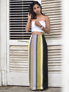 Yellow and black stripe skirt - WhySoBlue