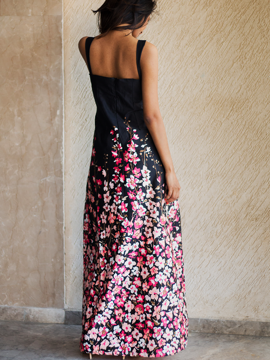 Black Floral Gown