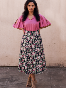 Black Floral Skirt and Peach Top - WhySoBlue