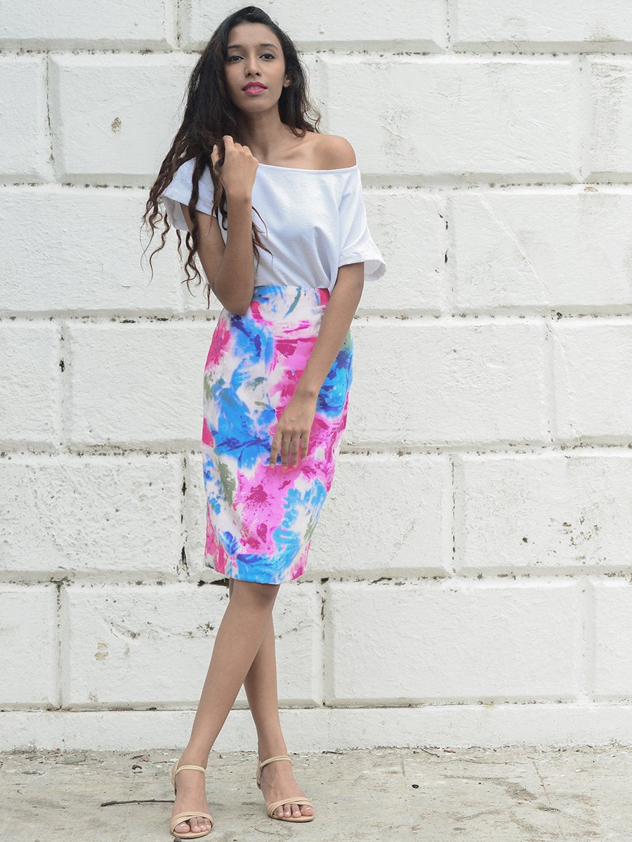 Splash Pencil Skirt