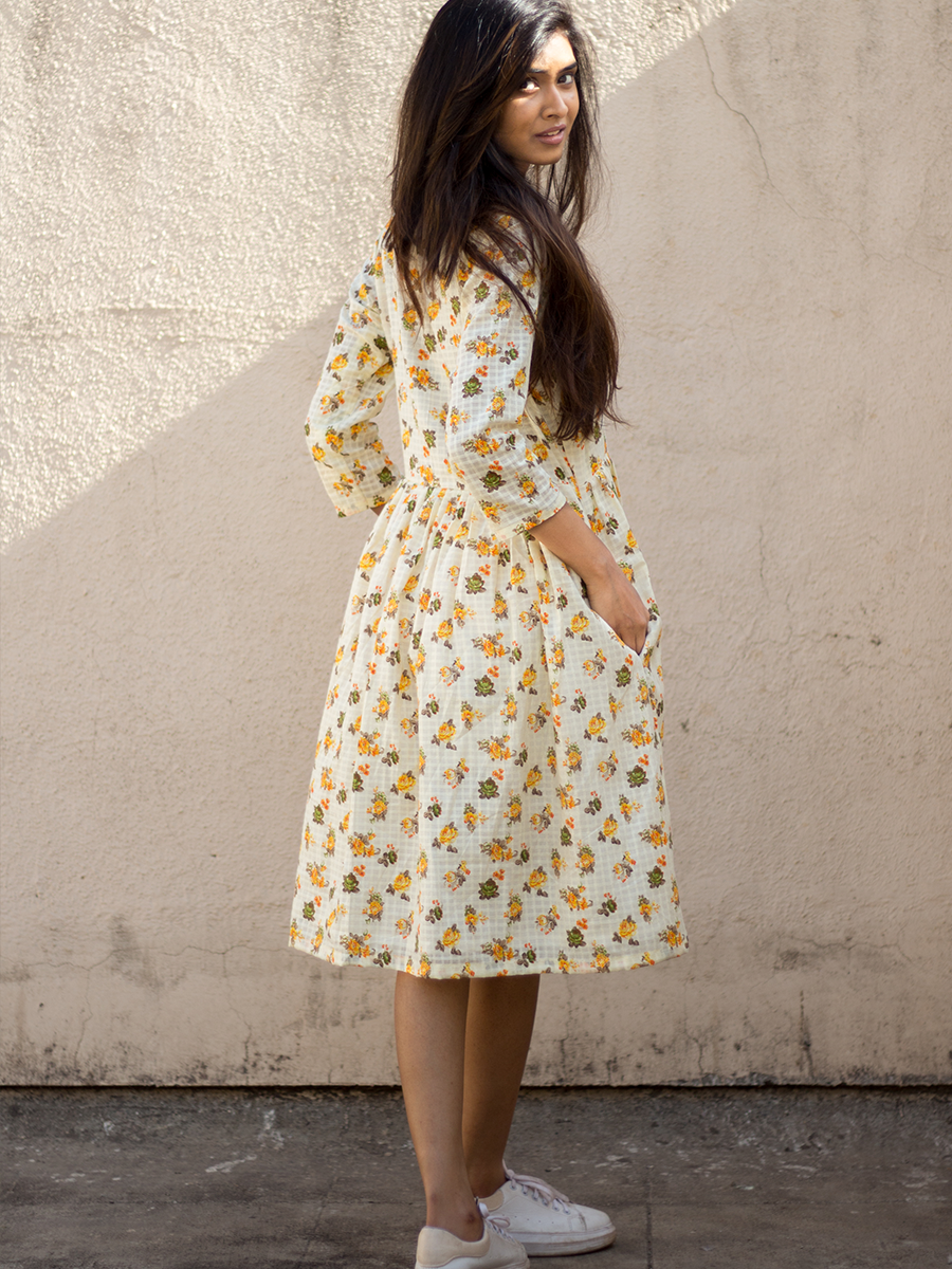 Yellow Shirt dress with wooden buttons - WhySoBlue