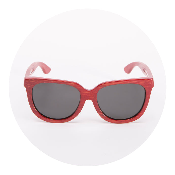 Bamboo Sunglasses - Monroe -  Red Frame