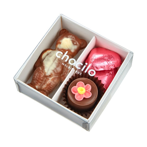 Chocilo Melbourne Mothers Day Gift Box Milk Couverture Chocolate Hazelnut Praline Flower Pot Bear Hearts