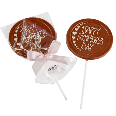 Mother's Day Sweet Gift Milk Chocolate Lollipop. Handmade in Melbourne.