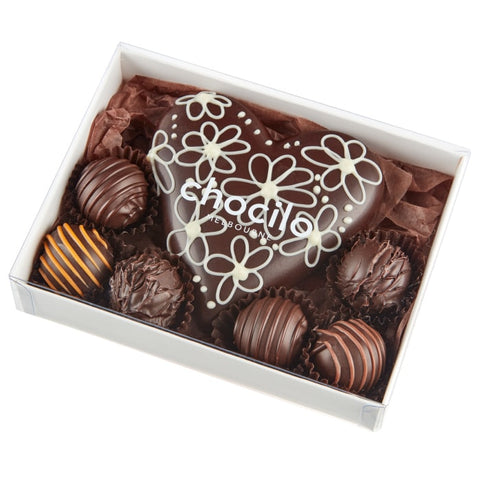 Mother's Day Chocolate Gift heart with gourmet truffles. Made in Melbourne.