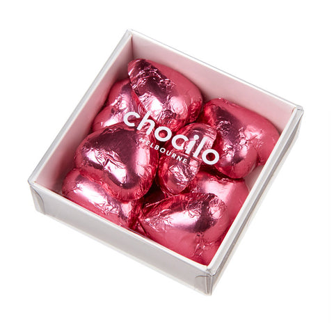 Chocilo Melbourne Couverture Milk Chocolate Pink Foiled Hearts Mothers Day Gift Box