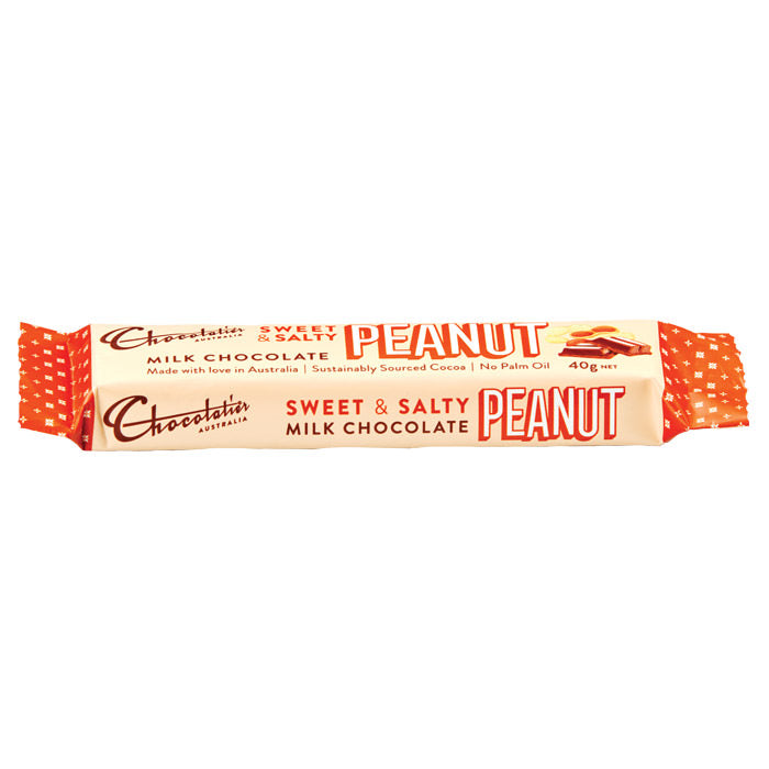 Chocolatier Australia Milk Chocolate Sweet & Salty Peanut Bar 40g Made in Melbourne