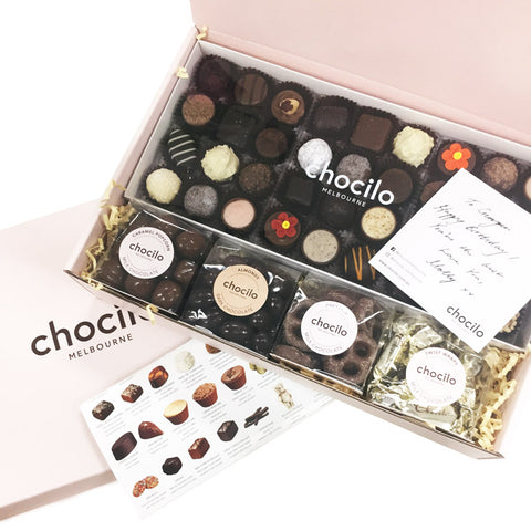 Chocilo Melbourne Stay Home Milk and Dark Chocolate Gourmet Hamper Gift Box. Made in Melbourne.