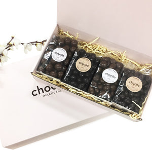 Chocilo Melbourne 4 Pack Chocolate Coated Confectionery Gourmet Hamper Gift Box. Made in Melbourne.