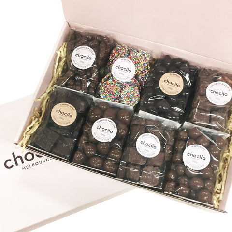 Chocilo Melbourne 8 Pack Chocolate Coated Confectionery Gourmet Hamper Gift Box. Made in Melbourne.