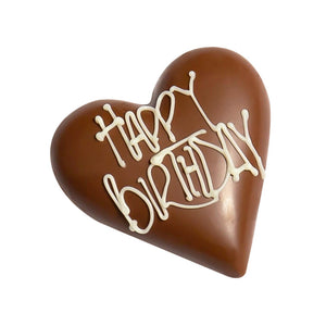 """HAPPY BIRTHDAY"" Milk Chocolate Hazelnut Praline Filled Heart - 30g"