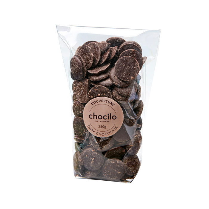 1072 - Chocilo - 250g Couverture Dark Chocolate Buttons Bag