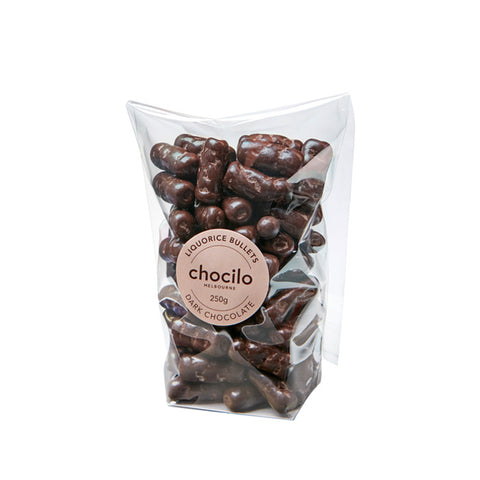 1018 - Chocilo - 250g Dark Chocolate Coated Bullets Gift Bag