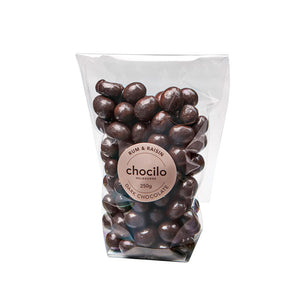 1045 - Chocilo - 250g Dark Chocolate Coated Rum & Raisin Gift Bag