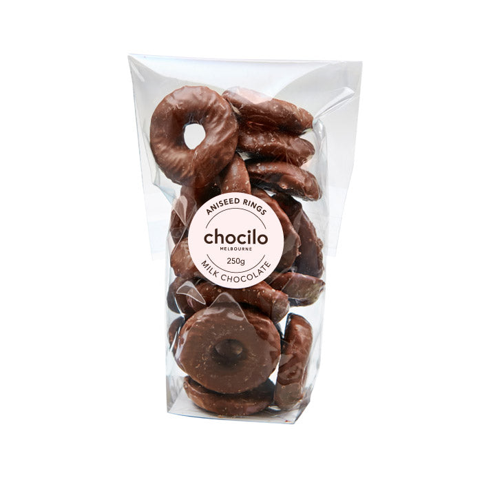 1048 - Chocilo - 250g Milk Chocolate Coated Aniseed Rings Gift Bag