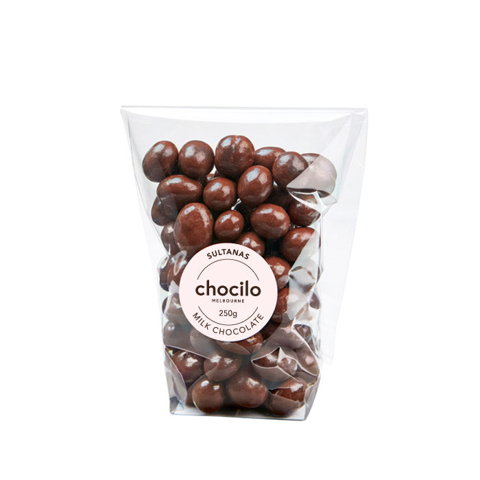 1005 - Chocilo - 250g Milk Chocolate Coated Sultanas Gift Bag