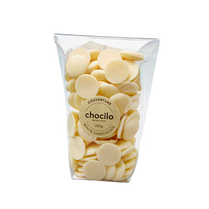 1073 - Chocilo - 250g Couverture White Chocolate Buttons Bag