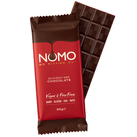 NOMO - No Missing Out Vegan Dark Chocolate & Free from Dairy, Gluten, Egg & Nuts. Available in Melbourne, Australia.