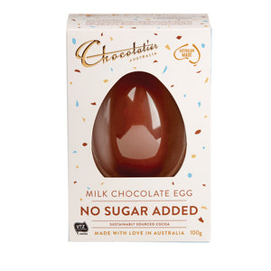 "100g Chocolatier Australia ""No Added Sugar"" Milk Chocolate Egg"