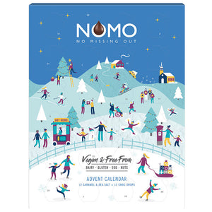 NOMO Christmas Advent Calendar - No Missing Out Vegan Milk Chocolate & Free from Dairy, Gluten, Egg & Nuts. Available in Melbourne, Australia.
