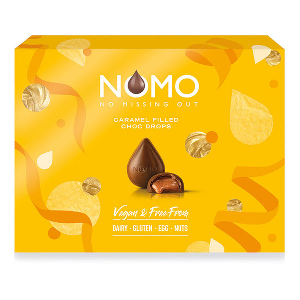 NOMO Caramels Gift Box - No Missing Out Vegan Milk Chocolate & Free from Dairy, Gluten, Egg & Nuts. Available in Melbourne, Australia.