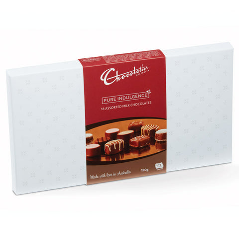 Chocolatier Australia Assorted Milk Chocolate Gift Box - 190g. Made in Melbourne.