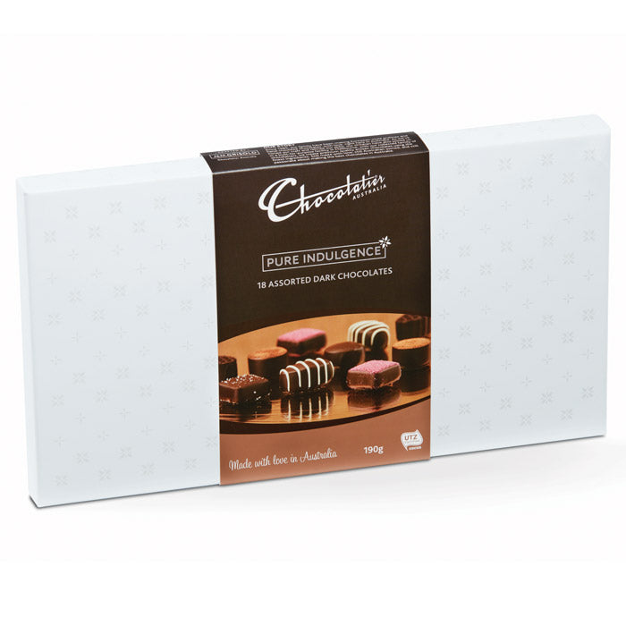 Chocolatier Australia Assorted Dark Chocolate Gift Box - 190g. Made in Melbourne.