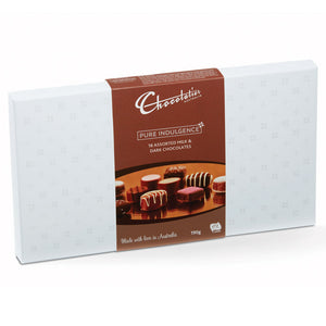 Chocolatier Australia Milk & Dark Mixed Chocolate Gift Box - 190g. Made in Melbourne.