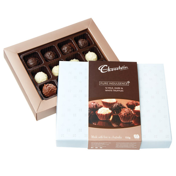 Chocolatier Australia Milk, Dark & White Chocolate Truffle Gift Box - 150g
