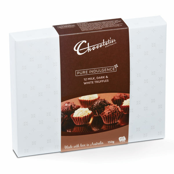 Chocolatier Australia Milk, Dark & White Chocolate Gourmet Truffle Gift Box - 150g