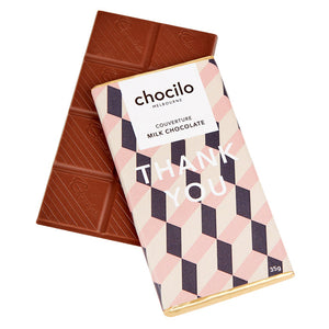 Chocilo Melbourne THANK YOU Message Block. Couverture Milk Chocolate. Made in Melbourne.