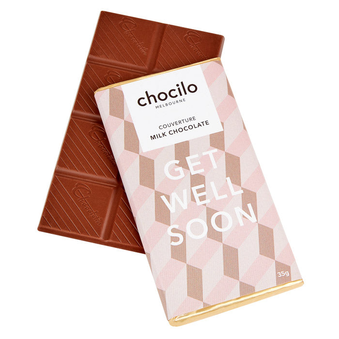 Chocilo Melbourne GET WELL SOON Message Block. Couverture Milk Chocolate. Made in Melbourne.