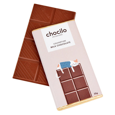 Chocilo Melbourne CAT Message Block. Couverture Milk Chocolate. Made in Melbourne.