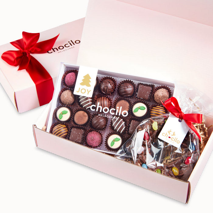 Chocilo Melbourne fine couverture assorted Chocolatier Australia Christmas chocolates and chocolate almond wreath in a blush pink hamper