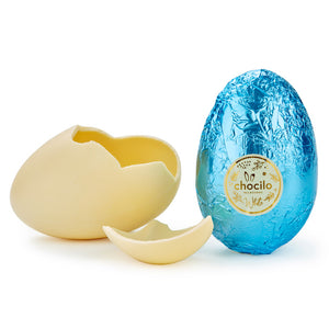 100g Chocolatier Australia White Chocolate Easter Egg Pastel Blue Foil