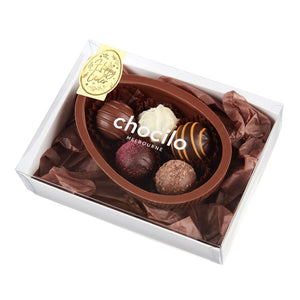 Chocilo Melbourne 110g Milk Chocolate Half Egg with Assorted Milk Chocolate Truffles