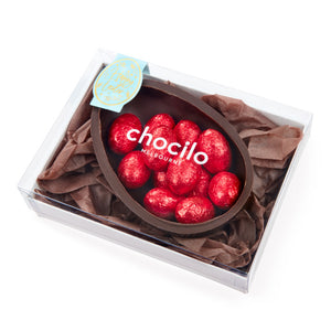 140g Chocilo Melbourne Dark Chocolate Half Egg with Dark Chocolate Mini Eggs