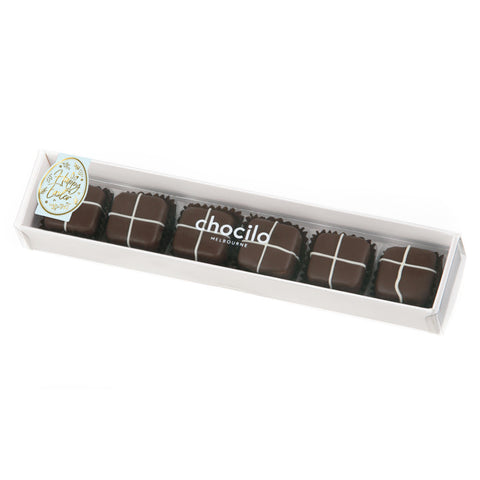 75g Chocilo Melbourne 6 Pack Easter Dark Chocolate Hot Cross Buns