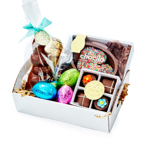 Chocilo Melbourne Happy Bunny Chocolate Easter Hamper wrapped in cello