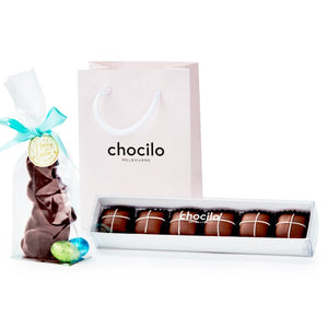 Chocilo Melbourne My First Chocolate Easter Bunny and Hot Cross Buns Gift Bag