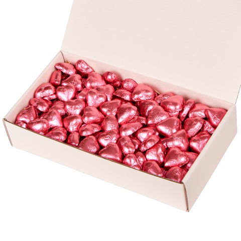 Sweet Love Quality Couverture Milk Chocolate Pink Foiled Hearts Gift Box Hamper