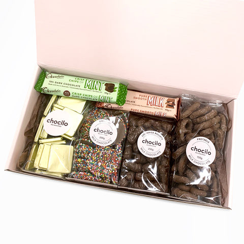 Chocolate thank you gift hamper filled with premium chocolates made in Melbourne