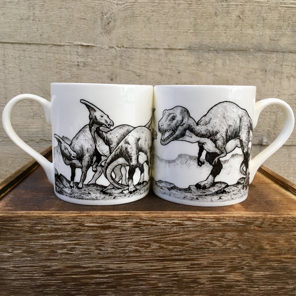 Black and White T-Rex / Parasaurolophus Bone China Dinosaur Mug