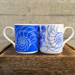 Ammonite Bone China Blue and White Mug