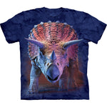 Mountain Charging Triceratops Dinosaur Cotton T-Shirt