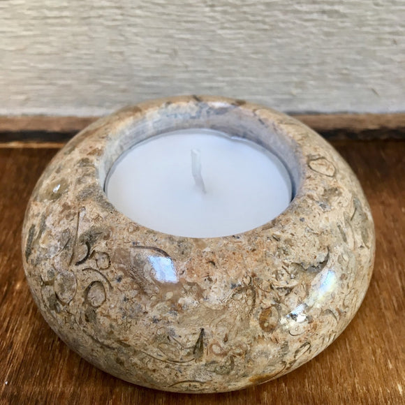 Fossilstone tealight holder (Disc)